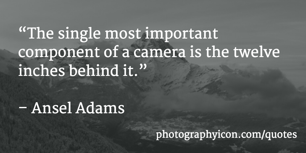 The single most important component of a camera is the twelve inches behind it - Icon Photography School