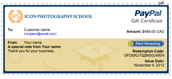 photography gift certificate wording